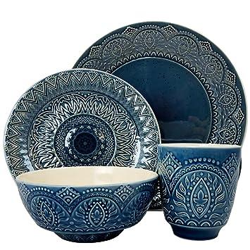 Elama\u0027s Petra 16 Piece Stoneware Dinnerware Set  sc 1 st  Amazon.com & Amazon.com | Elama\u0027s Petra 16 Piece Stoneware Dinnerware Set ...