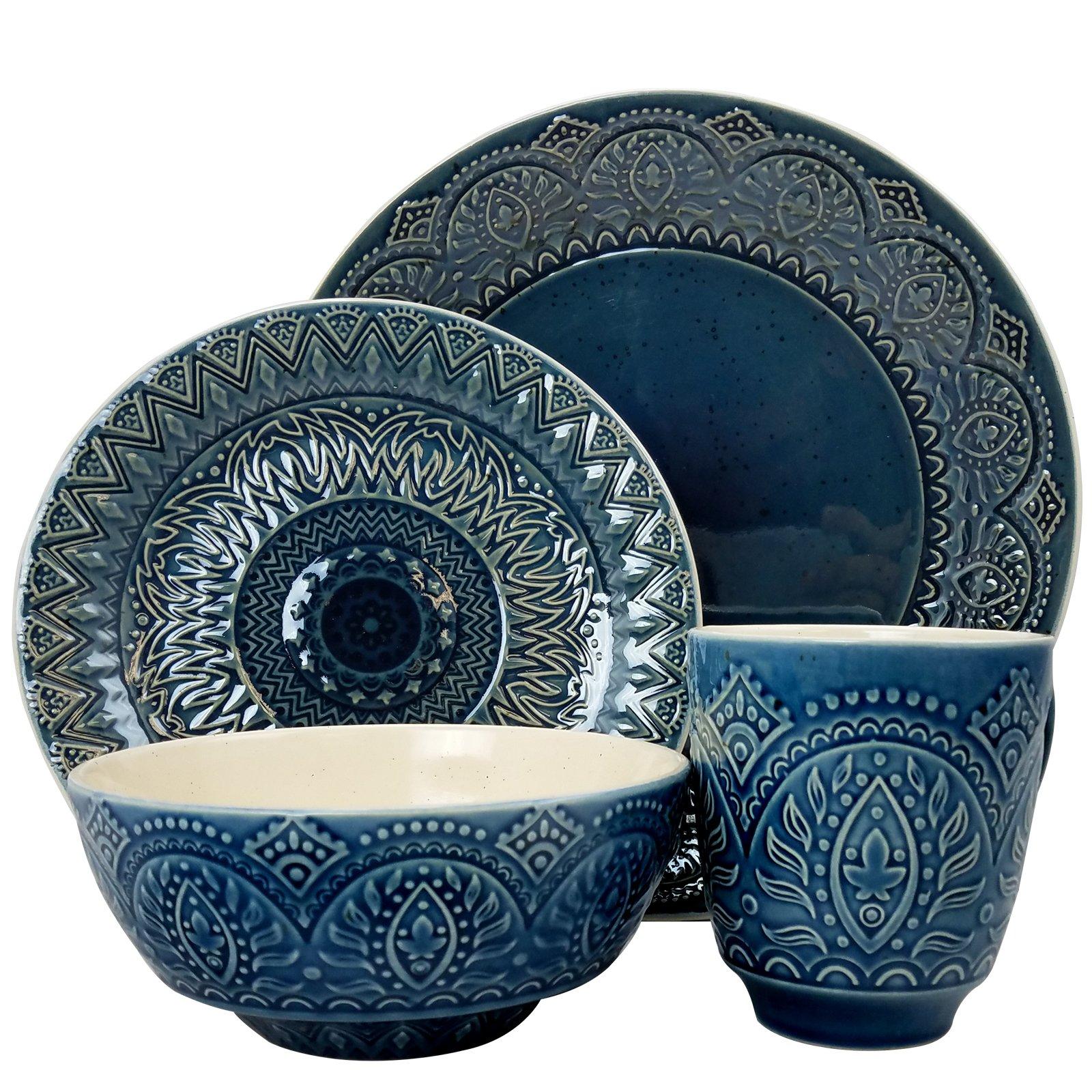 Elama ELM-PETRA 16 Piece Stoneware Dinnerware, 16pc set
