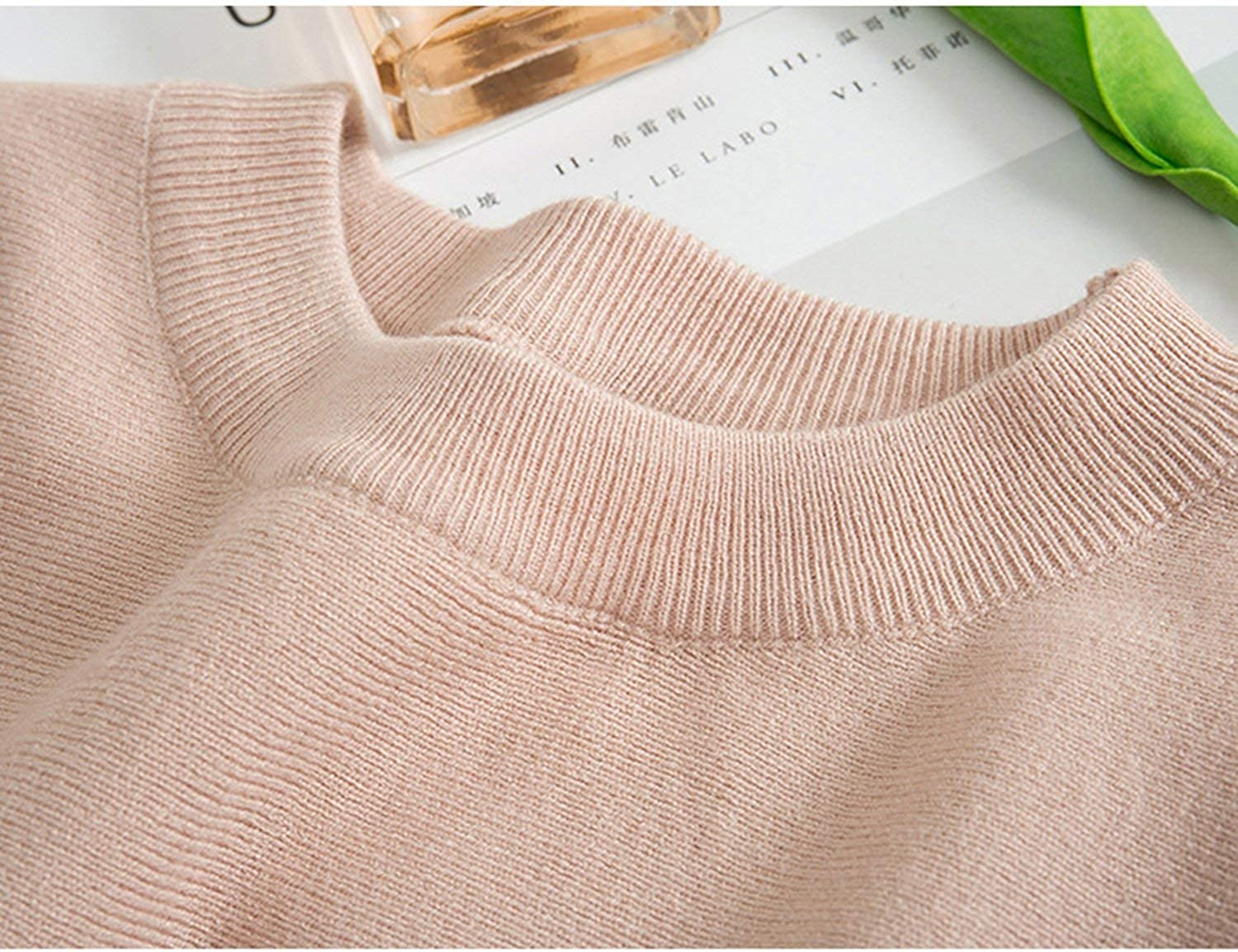 B0834QTRN9 Contrast Sweater Winter Pullover Sweater Women Sleeve Knitted Jumper Pull Black Pink 61Y77Y-h9WL