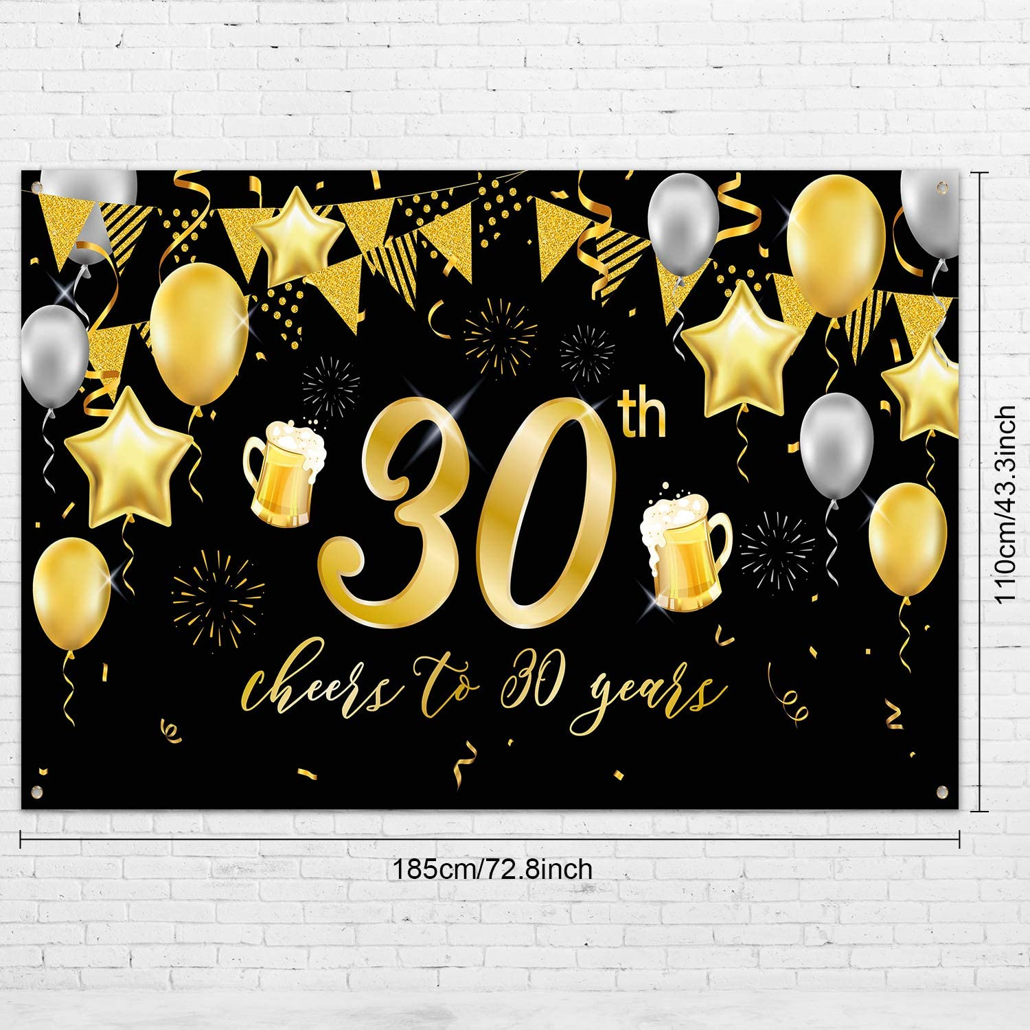 30th Birthday Backdrop,30th Banner for 30th Birthday Decorations