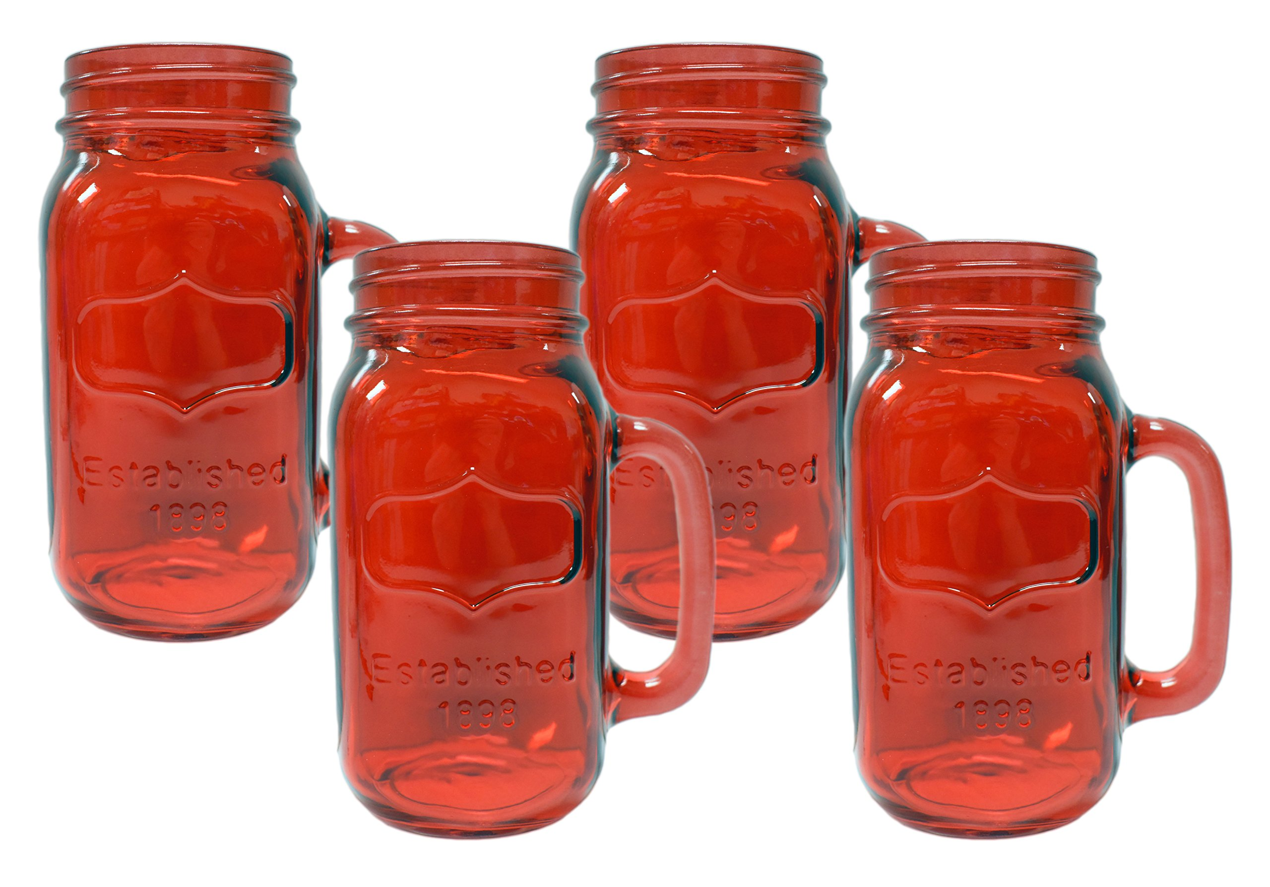4 Peice - 24 Ounce - Red Yorkshire Mason Jar Mugs