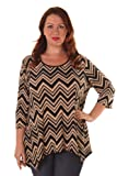 Hot Ginger Women's Plus Size Chevron Print Lace Back Top (Size: 1X-3X)