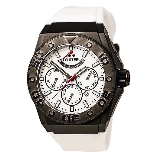 TW Steel CEO Diver - Reloj automático Unisex con Blanco Cronógrafo y Correa de Silicona, Color Blanco CE5002: TW Steel: Amazon.es: Relojes