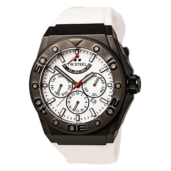 TW Steel CEO DIVER – Reloj automático unisex con blanco Cronógrafo y Correa de silicona,