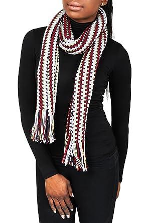 aadbee5e9 Missoni D4900 0002 Red/White Wool Blend Crochet Knit Zigzag Scarf ...
