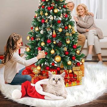 FISHOAKY Falda del árbol de Navidad, 30 Inch/76CM Snowy White Faux ...