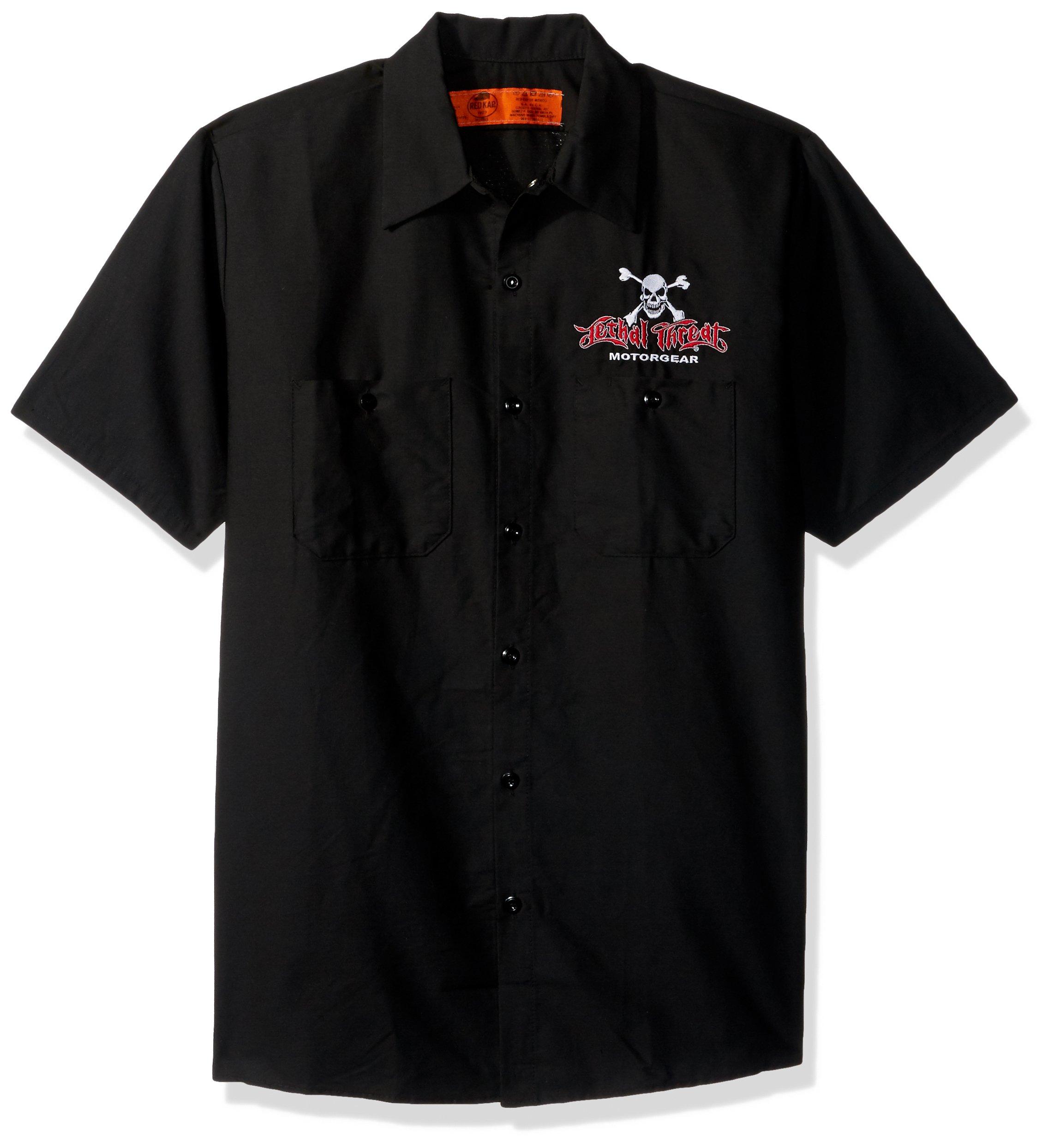 Lethal Threat (WS40302L)  Men's 'FREEDOM ISN'T FREE EAGLE' Work Shirt (Black, Large)