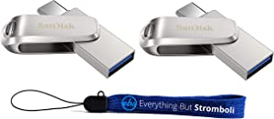 SanDisk 256GB Flash Drive (Bulk 2 Pack) Ultra Dual Drive Luxe USB Type-C for Smartphones, Tablets, and Computers - High Speed USB 3.1 (SDDDC4-256G-G46) Bundle with (1) Everything But Stromboli Lanyard