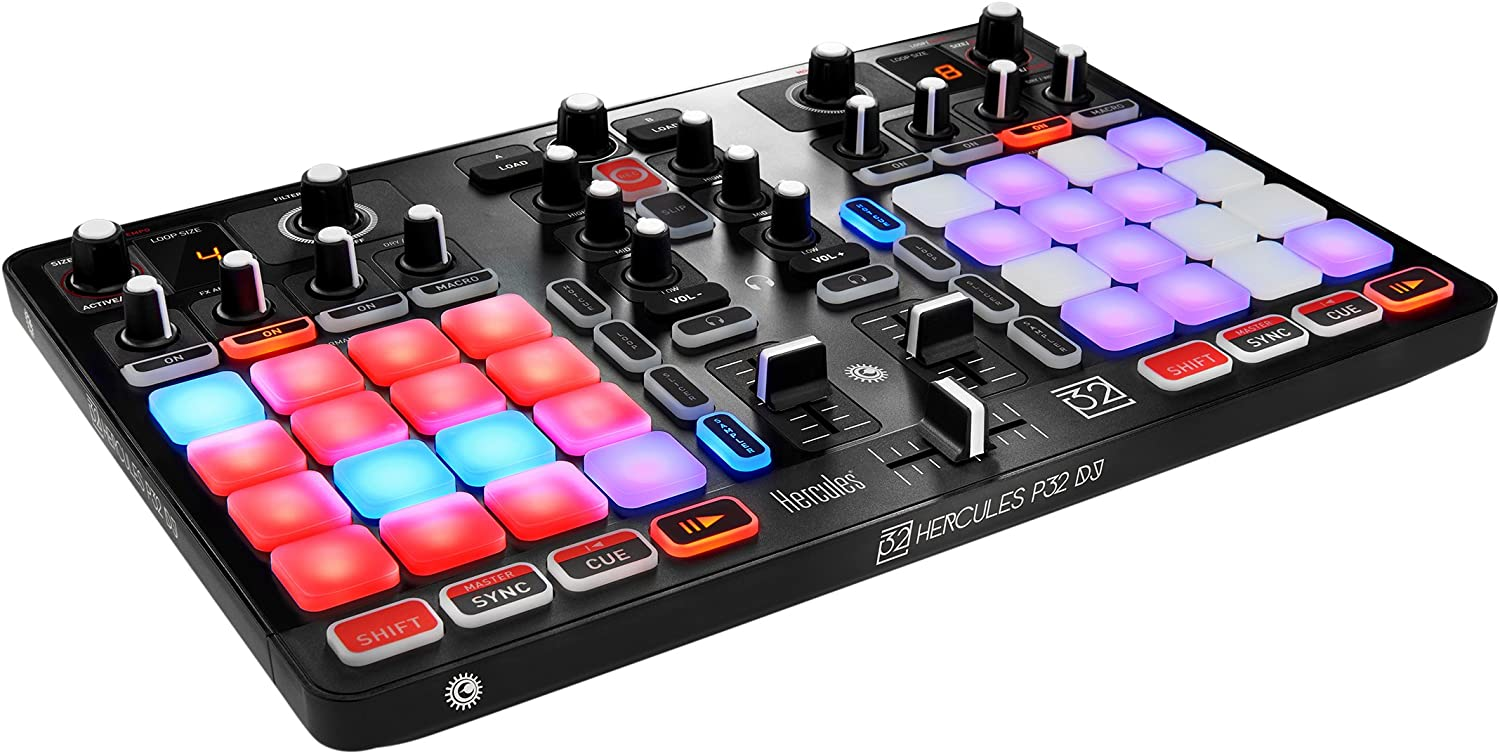 Hercules P32 DJ | Compact USB DJ controller with 32 high-performance touch pads
