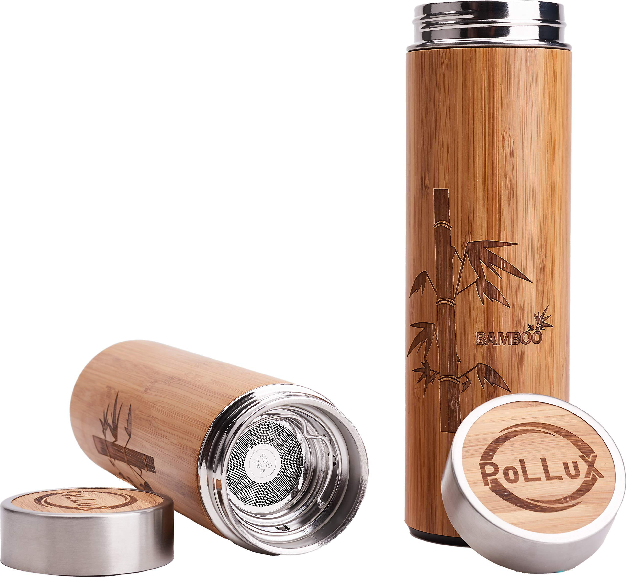 PoLLux Bamboo Travel Coffee Mug Double Wall Eco Thermos for Hot and Cold Beverages with Big Stainless Steel Infuser for Coffee or Tea and Fruit, Large Size 16oz