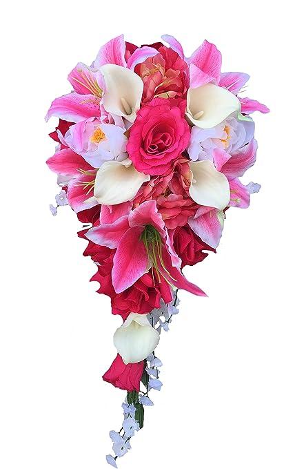 Amazon cascade wedding bouquet shades of pink and ivory cascade wedding bouquet shades of pink and ivory artificial flowers mightylinksfo