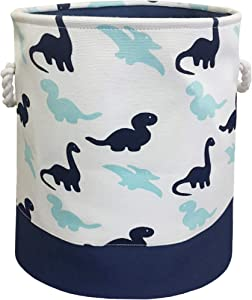 HIYAGON Storage Baskets,Cotton Fabric Laundry Hamper,Collapsible & Convenient Home Organizer Containers for Kids Toys,Baby Clothes(Dinosaur)