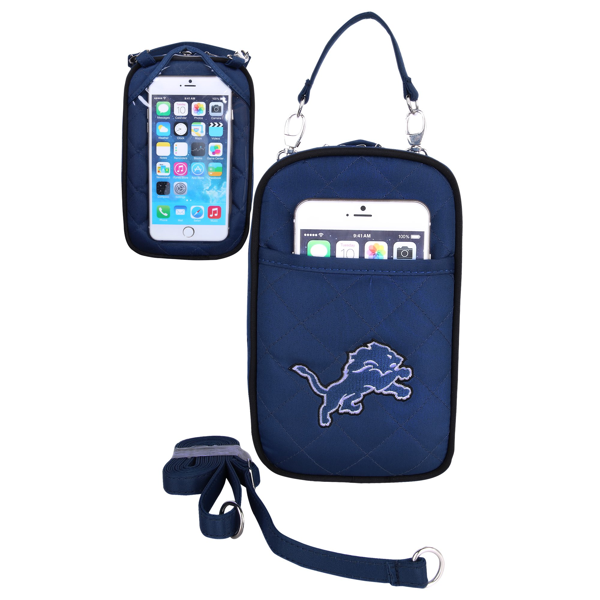 Charm14 NFL Detroit Lions Women's Crossbody Bag Quilt-Embroidered Logo-Fits All Phones by Little Earth