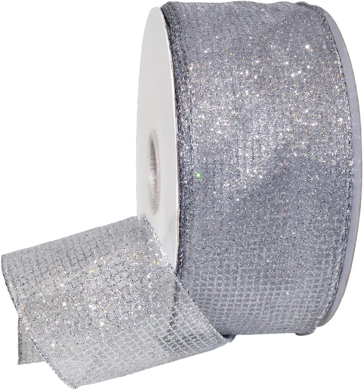 Morex Ribbon 7435 Cosmic Ribbon Silver 2-1//2 x 50 yd
