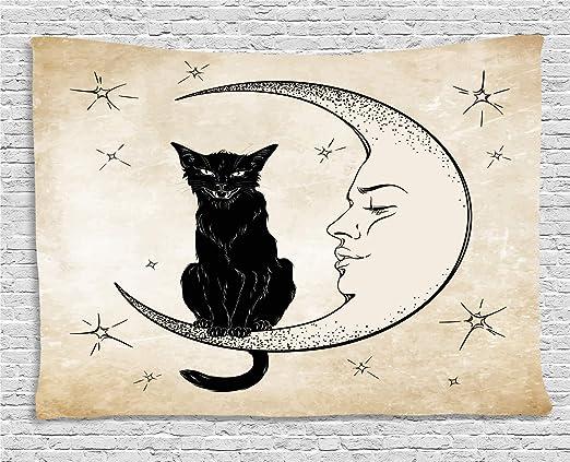 ABAKUHAUS Luna Tapiz de Pared, Gato Negro Sentado en Luna ...