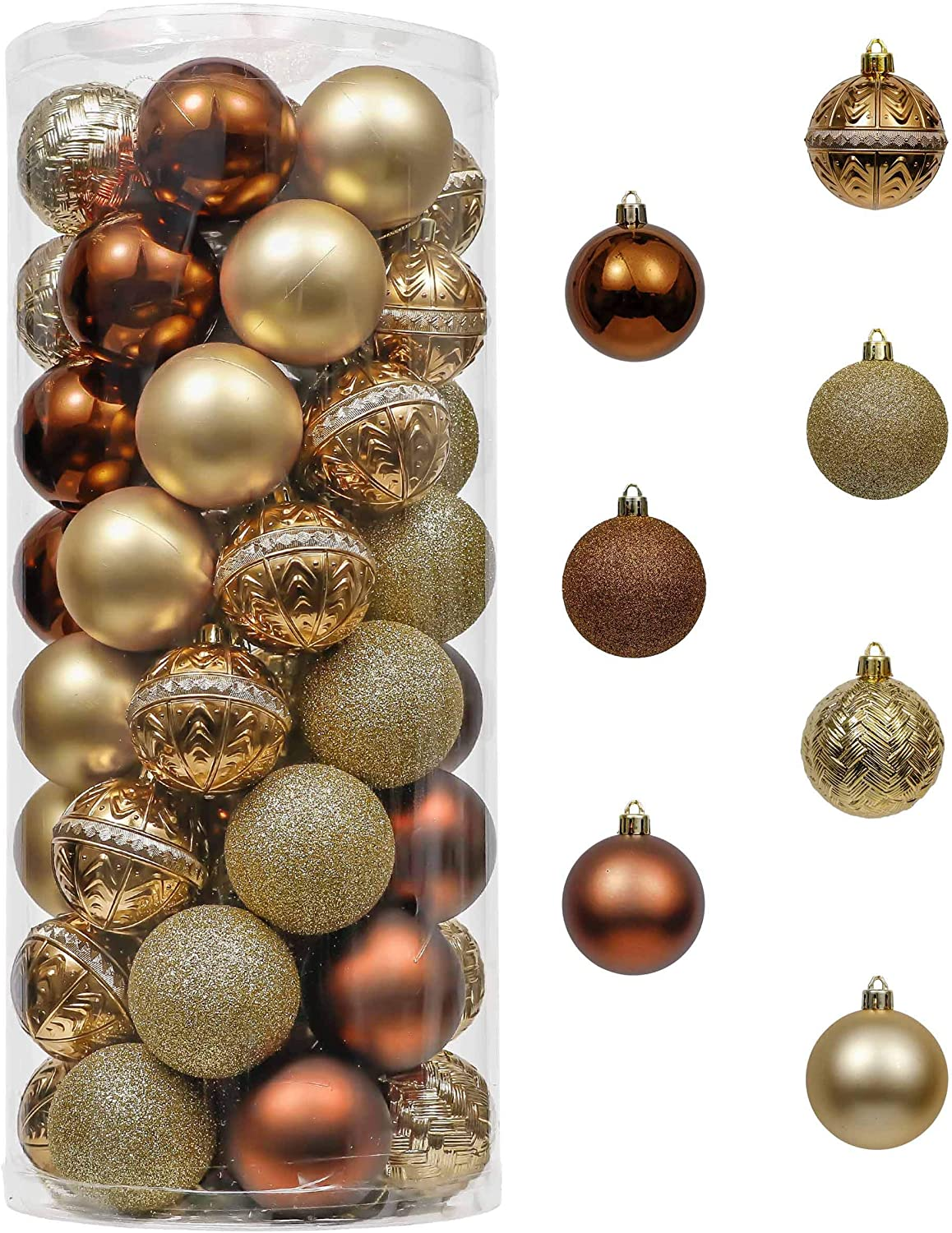 Amazon Com Valery Madelyn 50ct 60mm Woodland Copper Gold Christmas Ball Ornaments Shatterproof Christmas Tree Ornaments Decoration Themed With Tree Skirt Not Included Furniture Decor