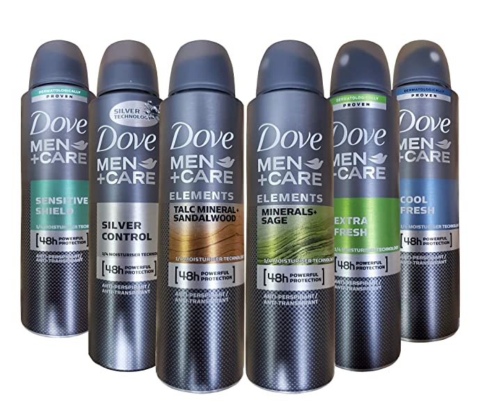 Dove Men+Care Dry Spray Antiperspirant Deodorant 150 ML Pack of 6 Mixed Scents