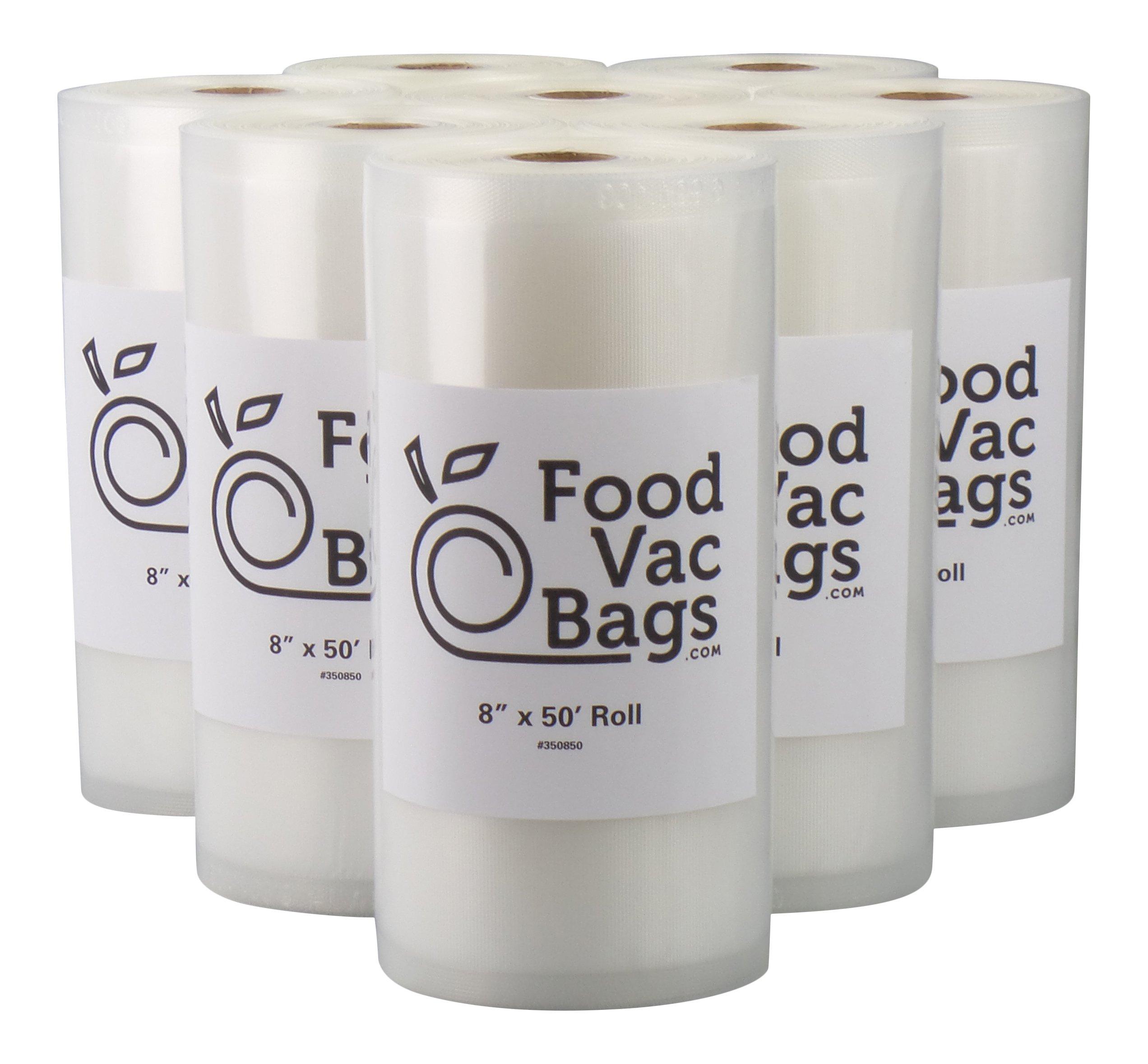 Eight 8X50 Rolls of 4 mil FoodVacBags Vacuum Sealer Bags