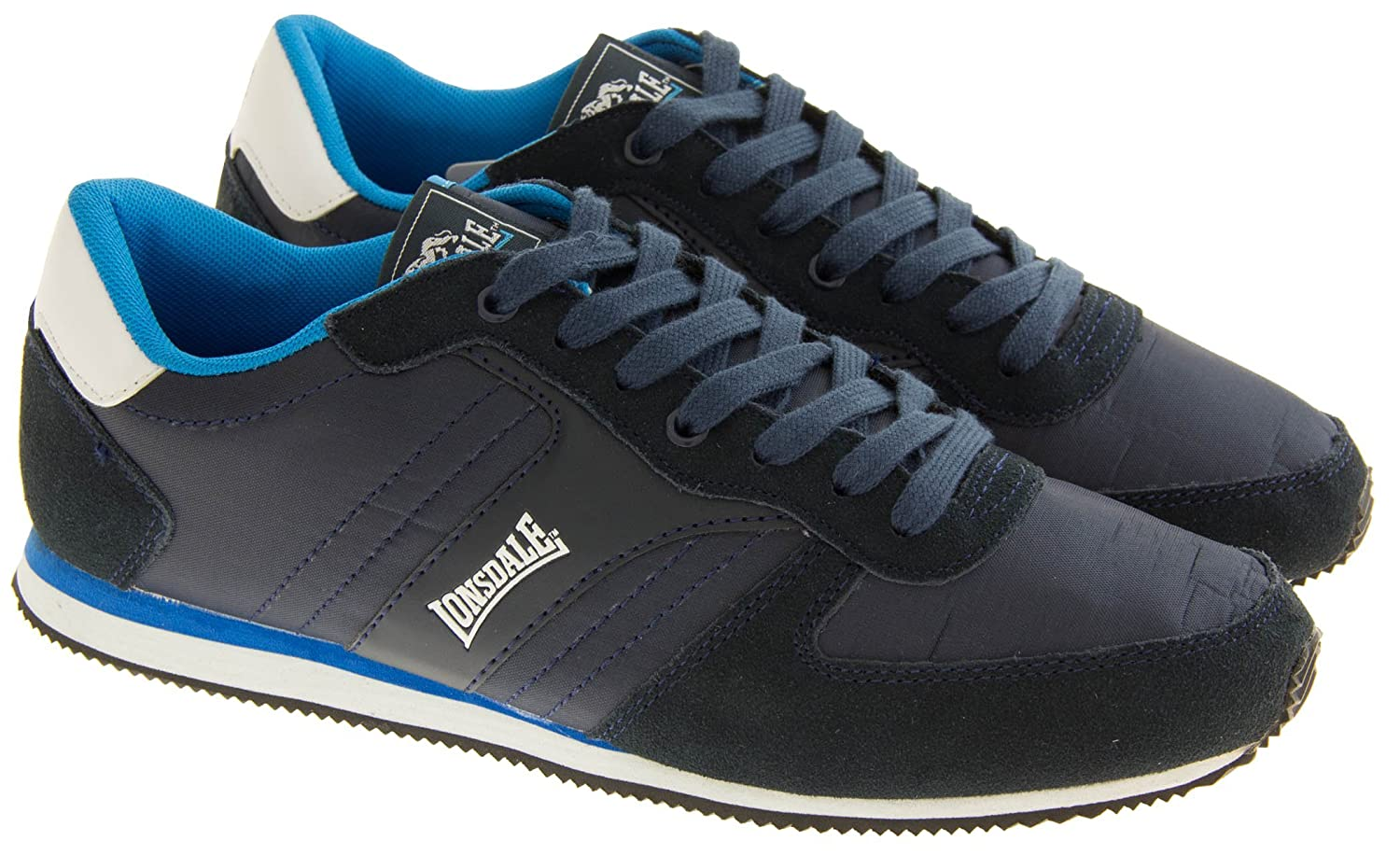 big sale 76f48 d24b5 Footwear Studio Lonsdale Mens Navy Suede Leather Textile Lace Up Casual  Trainers 9 UK Amazon.co.uk Shoes  Bags