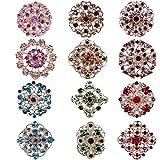 Keklle 12pc Multi-Color Rhinestone Crystal Flower Brooches Pins