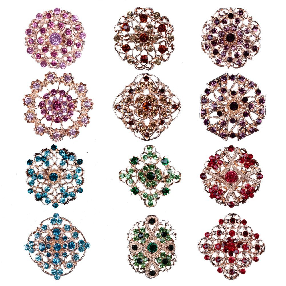 Mutian Fashion Lot 12pc Multi-Color Rhinestone Crystal Flower Brooches Pins MF-B3