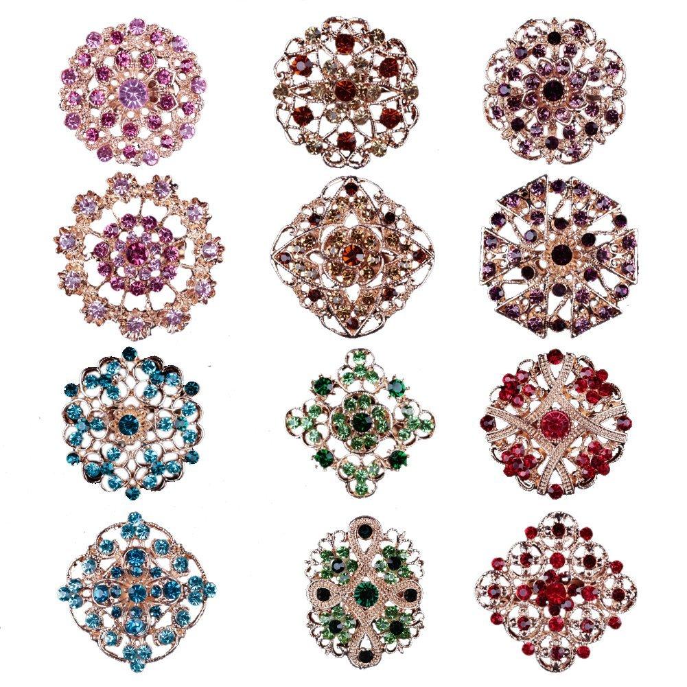 Mutian Fashion Lot 12pc Multi-Color Rhinestone Crystal Flower Brooches Pins