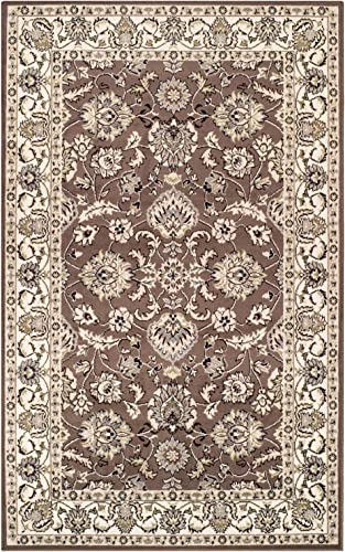 Blue Nile Mills Jasmine Indoor Area Rug, Super Soft, Durable, Elegant, Floral Damask Pattern, Cottage, Country, Cabin, Oriental, Vintage, Contemporary Style, Jute Backing, Brown, 8 x 10
