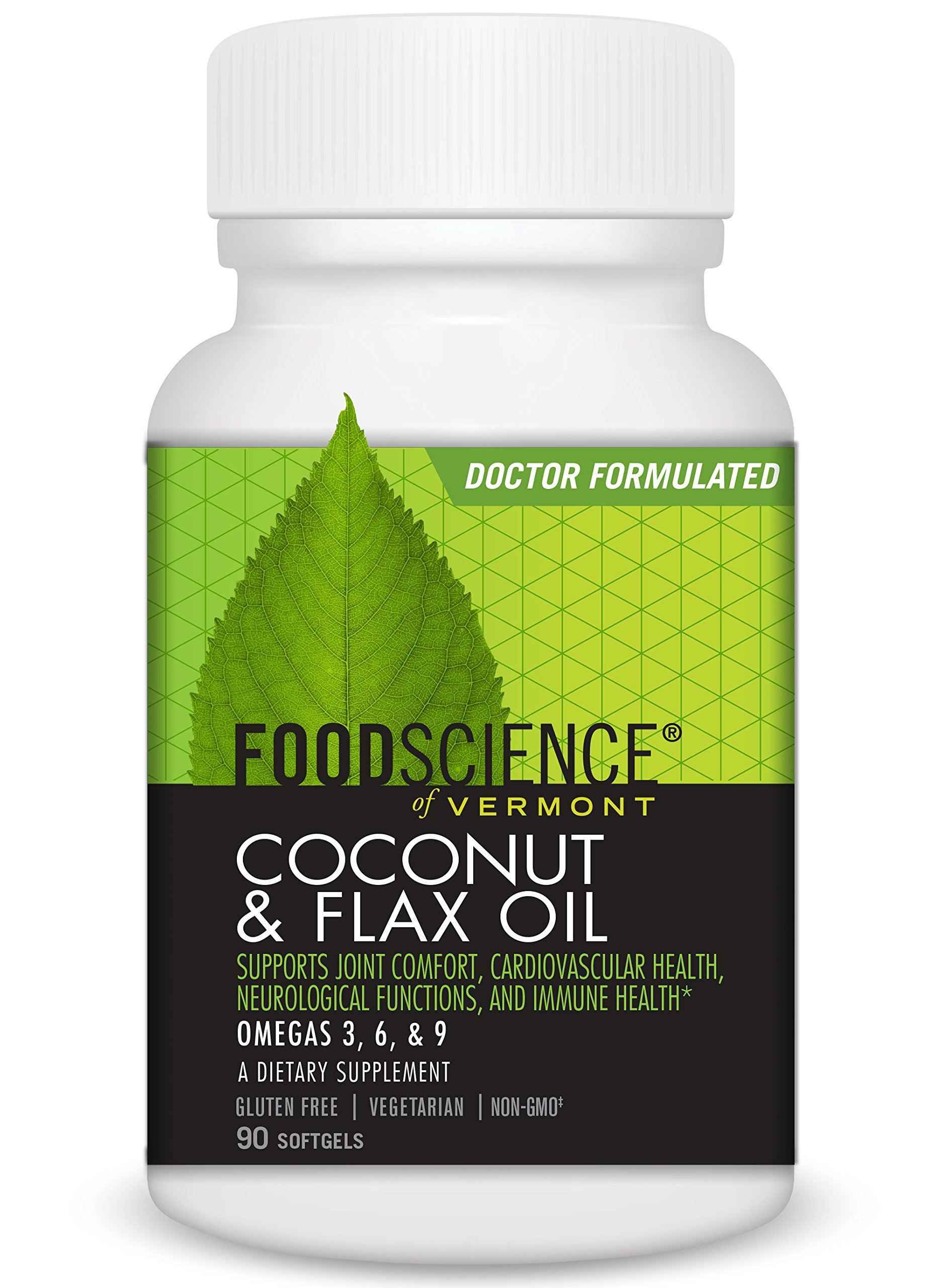 FoodScience of Vermont- Coconut & Flax Oil, Omega Fatty Acids Supplement, 90 Soft Gels
