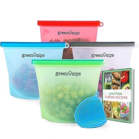 GreenZips - Bolsas de silicona reutilizables para almacenamiento ...