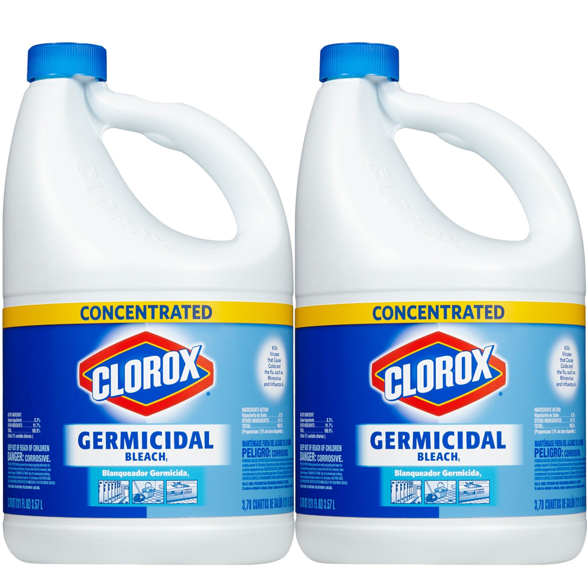 Clorox Germicidal Concentrated Liquid Bleach, 121 oz, 2-Pack