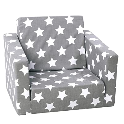 DELSIT Children's 2 in 1 Flip Open Foam Single Sofa, Children Sofa, Kids Foldable Sofa, Kids Sofa, Kids Couch - Premium Quality, European Made, Lightweight, Safe, Washable (Gray with Stars): Kitchen & Dining
