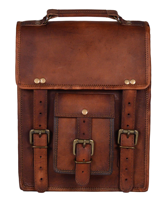 cc6dac23af78 Amazon.com: AOL 11 Inch Leather Vintage Crossbody Messenger ...