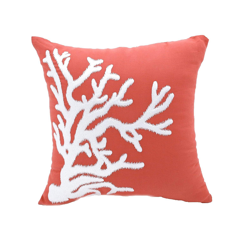 Amazon.com: Coral Throw almohada cover Naranja Lino y ...