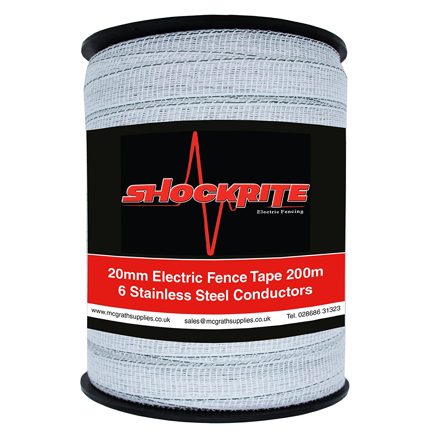 200m x 20mm Electric Fence Fencer Fencing Poly Tape 6 SS Conductors Polytape
