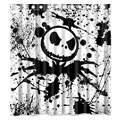 Custom Nightmare Before Christmas Waterproof Bathroom Shower Curtain Polyester Fabric Size 66 X 72