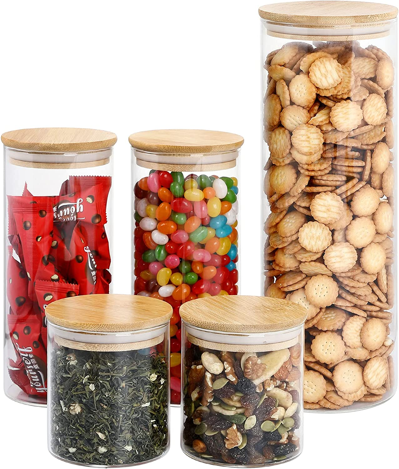 Kitchen Canisters Set of 5, DANALLAN Storage Glass Canister Food Container Clear Food Jars Organizers for Flour, Candy, Cookie, Rice, Pasta, Nuts