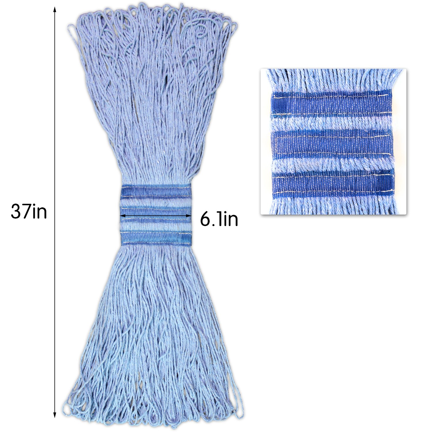 Bonison 24 oz Cotton Easy Wring Saddle Mop Head Refill, 24 oz Heavy Duty Looped-End String Swinger Style Replacement Mop Head, for Home, Commercial, and Industrial Use (Blue, 24 oz) by Bonison (Image #4)