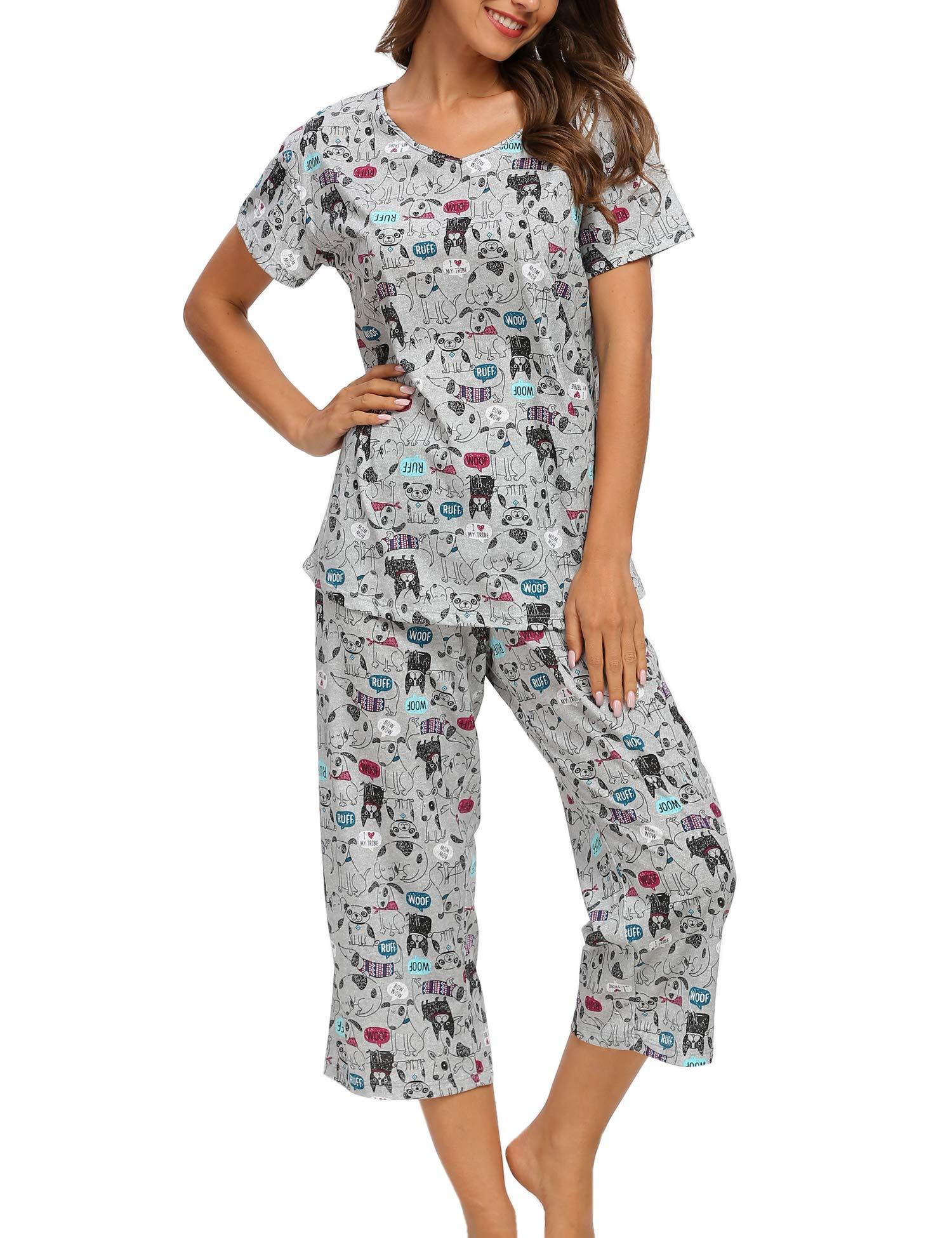 ENJOYNIGHT Women\'s Cute Sleepwear Tops with Capri Pants Pajama Sets (Dog, Medium)