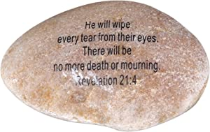 """Extra Large Engraved Inspirational Scripture Biblical Natural Stones collection - Stone XI : Revelation 21:4 :"""" He will wipe every tear from their eyes. There will be no more death or mourning. """""""