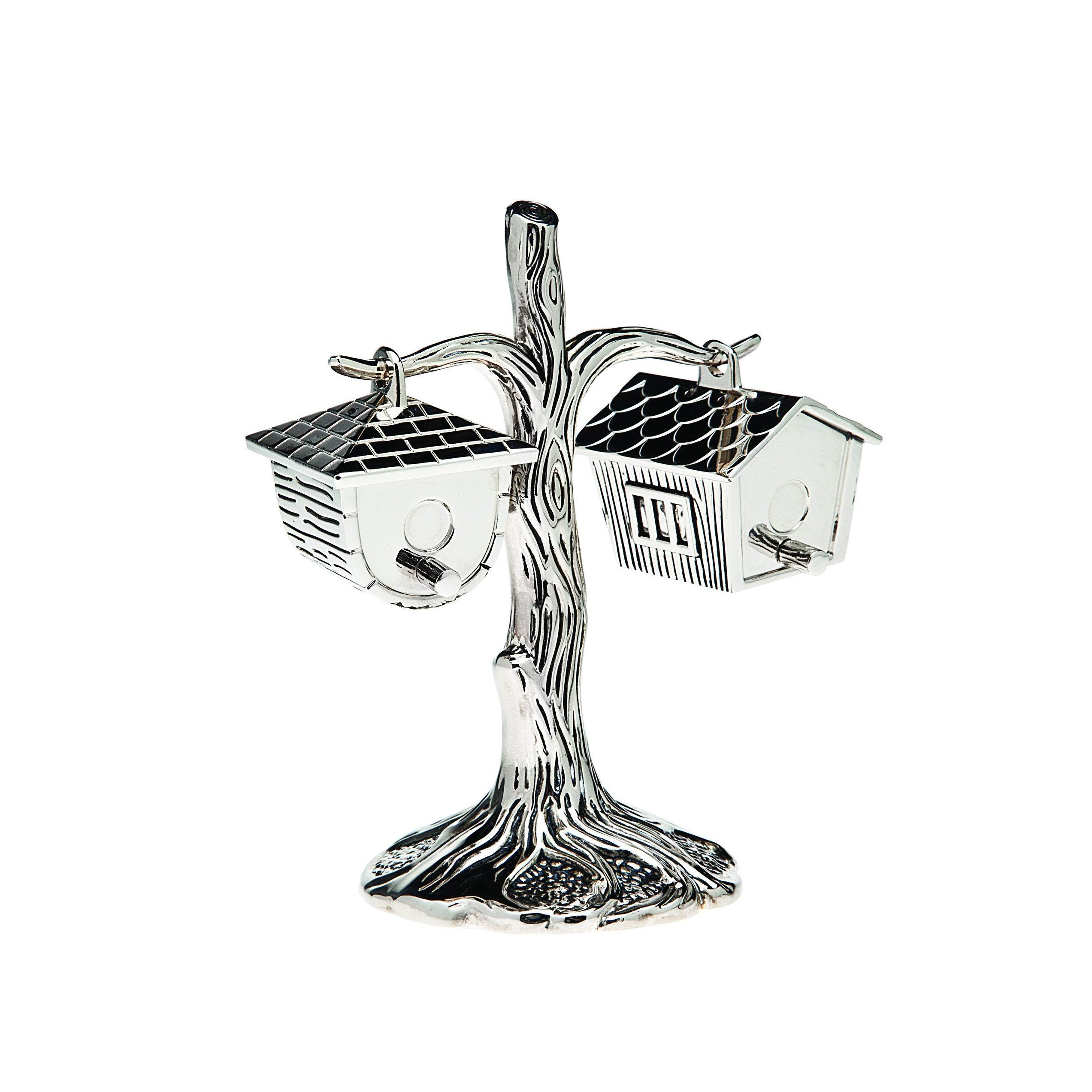 Nickelplated Tree Trunk Birdhouse 2-Ounce Salt and Pepper Shakers Silver Metal 2 Piece by Unknown