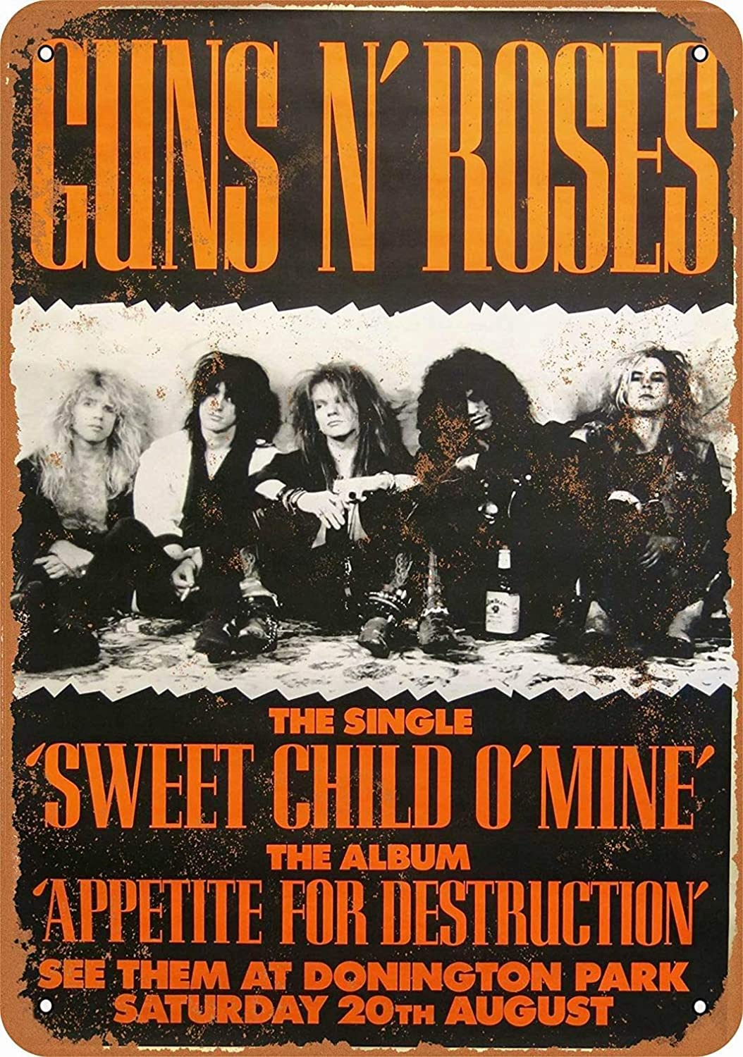 LoMall 8 x 12 Metal Sign - Guns 'N Roses at Donington Park - Vintage Wall Decor Art