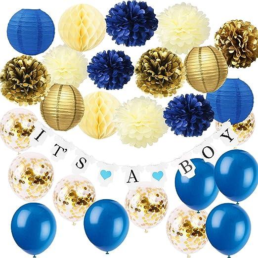Royal Prince Baby Shower Decoraciones Furuix Navy Cream Gold ...