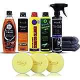Wavex® Essential Car Care Kit Includes Dashboard Polish, Carnauba Wax Polish, Tyre Polish, Car Washing Shampoo, Scratch Cleaner, 2 Microfiber Cloth, 3 Foam Applicator (10 Piece Kit)