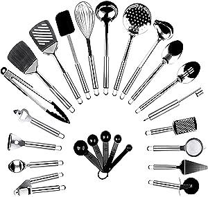 BAYOBID Stainless Steel Kitchen Utensil Set | 24 Pieces Cooking Gadgets Tool | Perfect Kichen Nonstick Utensels Sets | Complete Home Essentials