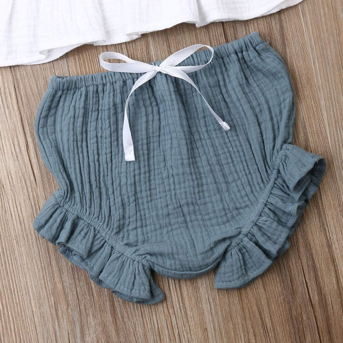 Madjtlqy Infant Toddler Summer Outfit 1-5T Baby Girl Cotton Linen Sleeveless Tank Ruffle Top Bloomer Short Pant