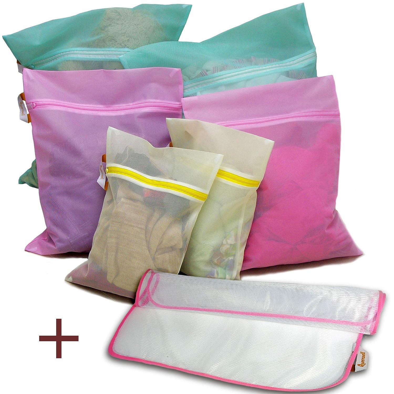 Delicates Mesh Laundry Bag - Hosiery Bag 6+1 Set: 2 Jumbo 2 large 2 Medium & Ironing Clothes - Colored Mesh Washing Drying Laundry Bag for Bra Underwear Lingerie Stockings - Travel Organizer