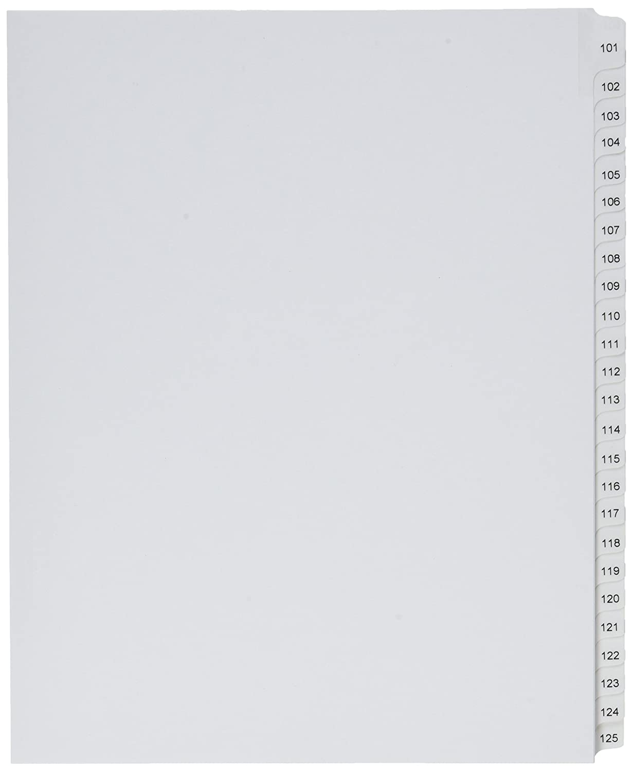 01705 White Avery Collated Legal Dividers Allstate 1 Set Letter Size Tabs 101-125