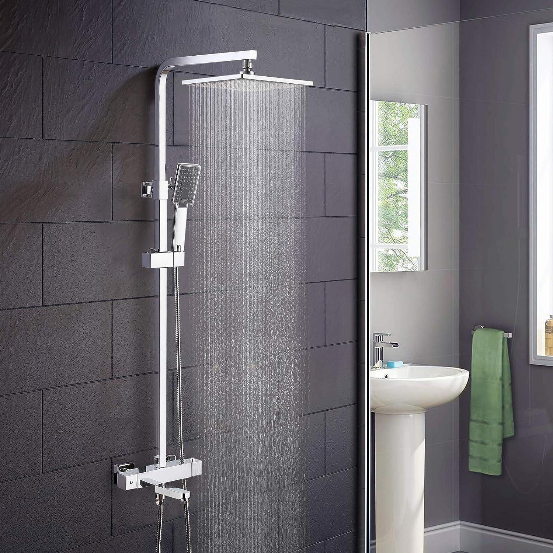 Nes Home   Epleon Square Shower Head Thermostatic Exposed Bar Mixer Valve & Riser Rail Kit Handset Bathroom