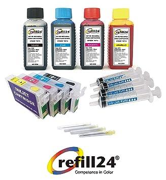 Kit de Recarga para Cartuchos de Tinta Epson T0711-T0714, T0891-T0894 Negro y Color + Cartuchos Recargables y Accesorios + 400 ML Tinta