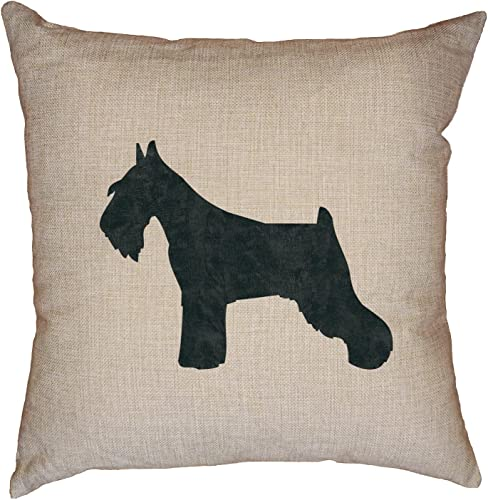 Hollywood Thread Standard Schnauzer Dog Decorative Linen Throw Cushion Pillow Case with Insert